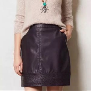 Anthropologie Faux Leather Plum Pencil Skirt